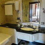 Good size bathroom with bath and shower.
