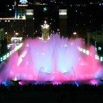 Ethereal colors glow during a Magic Fountain show near Plaza Espanya.