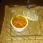 amaretto creme brulee with home made shortbread biscuit