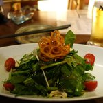spinach salad with cashew and raddishes