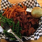 Beef Brisket, green beans, and sweet potato fries
