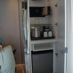 Enclosed, safe and fridge ( in case youre wondering what those 2 exclosed areas are near balcony