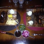 Black Angus steak and meat sampler