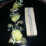 Duck foie gras parfait, duck rillettes, mushrooms, Nomu Tokaj vinegar, apple, chamomile.
