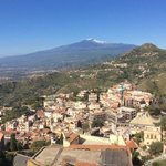 view of Mount Etna from our balcony!