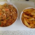Special Fried Rice and a portion of chips, yum!