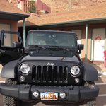 Our Jeep parked in front of Room 109
