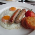 2 eggs with pork sausage and hash brown