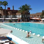 Pool with pool bar beyond