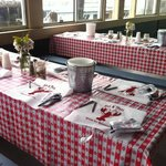 A lobsterbake style rehearsal dinner in Cafe Seven Seas, on Gloucester's working waterfront.