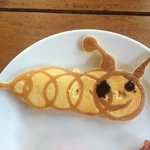 Breakfast. Caterpillar pancake design by staff.