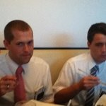 Two great missionaries from my church, The Church of Jesus Christ of Latter-Day Saints, enjoying