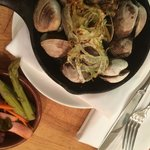 Skillet roasted clams with house made pickles