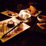Creme Burlee, Fortune Cookie, Molten Lava Cake, Chocolate Spring Rolls