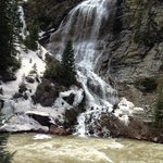 Snowmelt waterfalls along the way