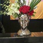 Floral arrangements at the front desk