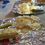 Sandwich, chips, and a dill pickle spear! Perfect lunch!