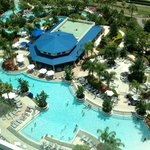 Birds eye view (from hotel room) of the pool facilities