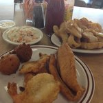 catfish and shrimp with giant plat of onion rings