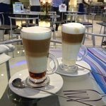 excellent Caramel Macchiato (left) and Cuban (right) coffees in Lagos!!