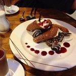 sharing chocolate platter with 2 pannacotta (not shown)