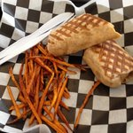"""The """" 3 Pigs in a Blanket"""" and sweet potato fries"""
