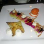 Sorry for the blur! black walnut turnover with goat cheese mousse, rooftop honey and carrot-oran