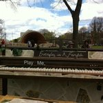 Nearby Hatch Shell and a public piano in front of the bistro on the Esplanade