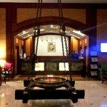 The lobby area at VITS, Mumbai with the reception desk behind