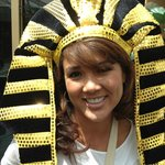 """In the gift shop, you'll find """"pose able"""" headwear!"""