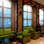 Nice lime green upholstery give the lobby a fresh feel at VITS, Mumbai