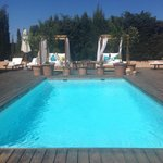 The pool that greats you when you enter the grounds