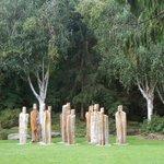 Carved figures i the garden