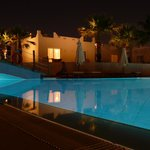 Great view of 1 of the pools at night