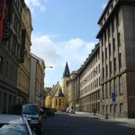 Quiet Klimenska street with hotel on left