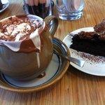 my chocolate meringue cake & hot chocolate we ace!