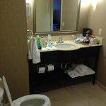 vanity mirror and toilet