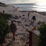 Our morning walk down the beach