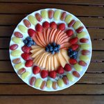 amazing fruit platter as part of breakfast