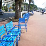 Blue benches