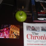 Free apples, papers, local info
