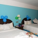 Room decorated by staff when we returned from dinner.