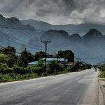 View as you enter Vang Vieng.