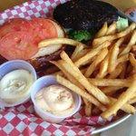 black bean burger and fries