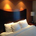 Comfortable bed, adjustable lighting, nice room.