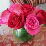 Beautiful bouquet of roses in the suite