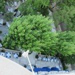 Look down the terrace restaurant