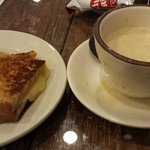 Homemade cheese grilled cheese sandwich and cream of crab soup