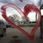 Window decoration, he has our heart! Mr. Ribs  |  Main St. SW, Neepawa, Manitoba, Canada
