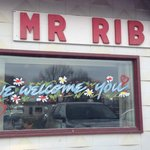 Outdoor window decoration, Mr. Ribs  |  Main St. SW, Neepawa, Manitoba, Canada